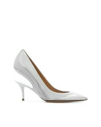 Zapatos de tacón de cuero plateados de Maison Margiela