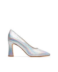 Zapatos de tacón de cuero plateados de Maryam Nassir Zadeh
