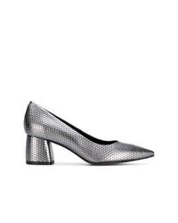 Zapatos de tacón de cuero plateados de Pollini