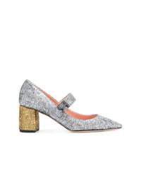 Zapatos de tacón de cuero plateados de Rochas