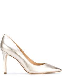 Zapatos de tacón de cuero plateados de Sam Edelman