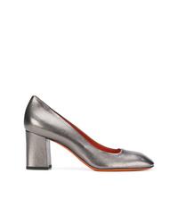 Zapatos de tacón de cuero plateados de Santoni