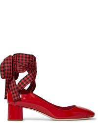 Zapatos de tacón de cuero rojos de Miu Miu