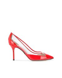 Zapatos de tacón de cuero rojos de Pollini