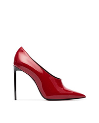 Zapatos de tacón de cuero rojos de Saint Laurent