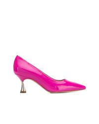 Zapatos de tacón de cuero rosa de Casadei
