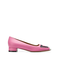 Zapatos de tacón de cuero rosa de Marni