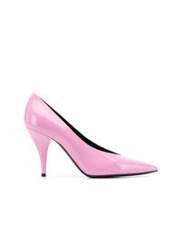 Zapatos de tacón de cuero rosados de Casadei