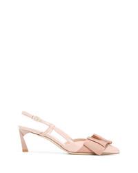Zapatos de tacón de cuero rosados de Lanvin