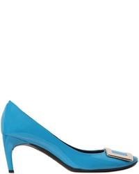 Zapatos de Tacón de Cuero Turquesa de Roger Vivier