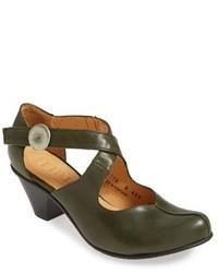 Zapatos de tacón de cuero verde oliva