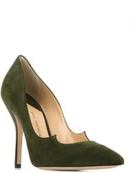 Zapatos de tacón de cuero verde oliva de Paul Andrew