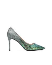 Zapatos de tacón de cuero verde oliva de Pollini