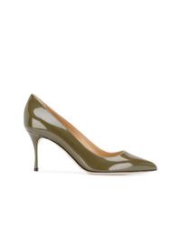 Zapatos de tacón de cuero verde oliva de Sergio Rossi