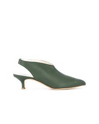 Zapatos de tacón de cuero verde oliva de Tibi