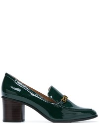 Zapatos de tacón de cuero verde oscuro de Tory Burch