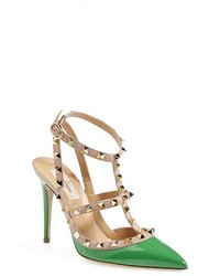 Zapatos de Tacón de Cuero Verdes