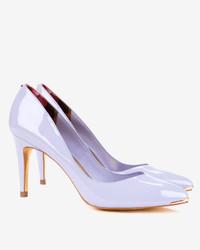 Zapatos de Tacón de Cuero Violeta Claro
