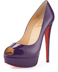 Zapatos de Tacón de Cuero Violeta de Christian Louboutin