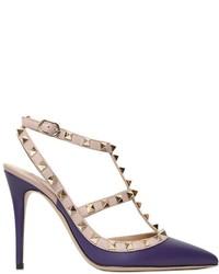 Zapatos de Tacón de Cuero Violeta de Valentino