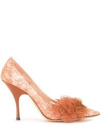Zapatos de tacón de encaje marrón claro