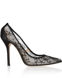 Zapatos de tacón de encaje negros de Oscar de la Renta