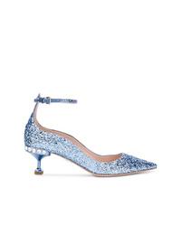 Zapatos de tacón de lentejuelas azules de Miu Miu