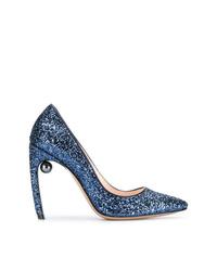 Zapatos de tacón de lentejuelas azules de Nicholas Kirkwood