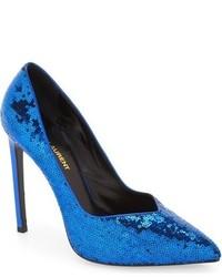 Zapatos de tacón de lentejuelas azules de Saint Laurent