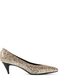 Zapatos de tacón de lentejuelas con adornos dorados de Saint Laurent