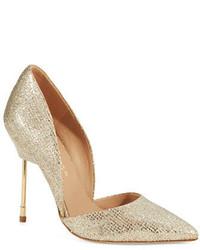Zapatos de tacón de lentejuelas dorados