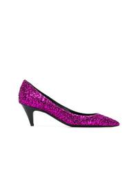 Zapatos de tacón de lentejuelas morado de Saint Laurent