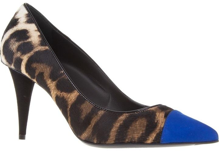 Zapatos de tacón de leopardo azules de Giuseppe Zanotti