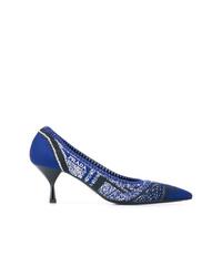 Zapatos de tacón de lona estampados azul marino de Prada