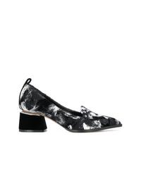 Zapatos de tacón de lona estampados en negro y blanco