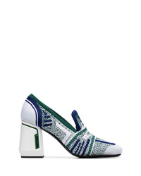 Zapatos de tacón de lona estampados verdes de Prada
