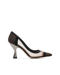 Zapatos de tacón de malla marrónes de Fendi