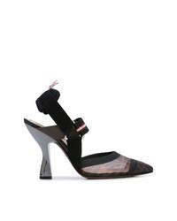 Zapatos de tacón de malla negros de Fendi