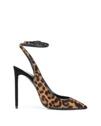 Zapatos de tacón de pelo de becerro de leopardo marrónes de Saint Laurent