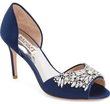 de Adornos Satén Tacón Zapatos de Azul Badgley Marino Mischka con de pdqdnX