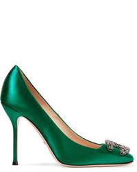 Zapatos de Tacón de Satén con Adornos Verde Oscuro de Gucci