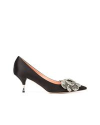 Zapatos de tacón de satén con print de flores negros de Rochas