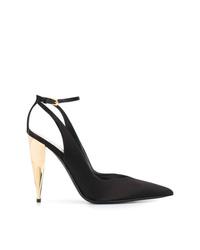 Zapatos de tacón de satén con recorte negros de Tom Ford