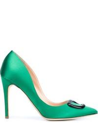 Zapatos de tacón de satén verdes