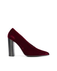 Zapatos de tacón de terciopelo burdeos de Stella McCartney
