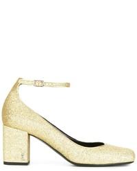Zapatos de tacón dorados de Saint Laurent