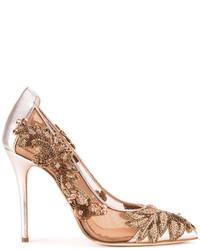 Zapatos de tacón plateados de Oscar de la Renta