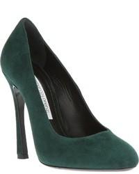 Zapatos de tacón verde oscuro