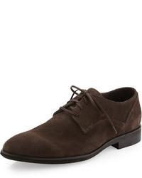Zapatos derby de ante en marrón oscuro