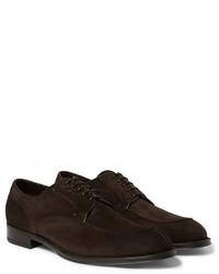 Zapatos derby de ante en marrón oscuro de Brioni